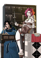 Commission: Marthin and Tyra in the library by StefanoMarinetti