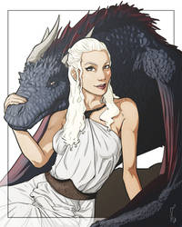 Commission: Daenerys+Drogon by StefanoMarinetti