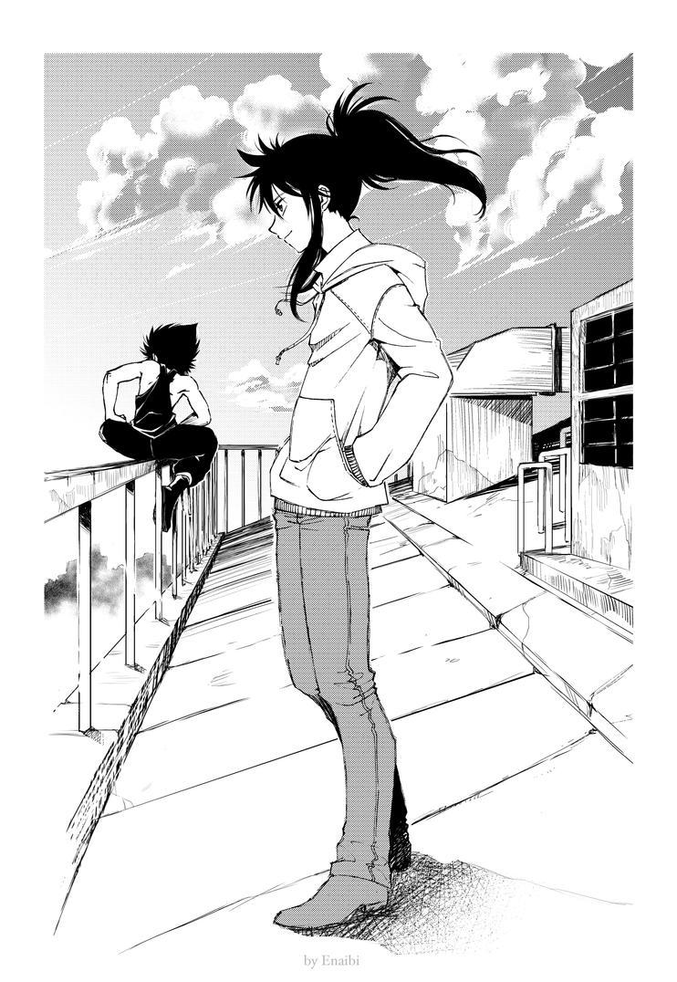 Kurama and Hiei, on the roof by Atelier-Enaibi