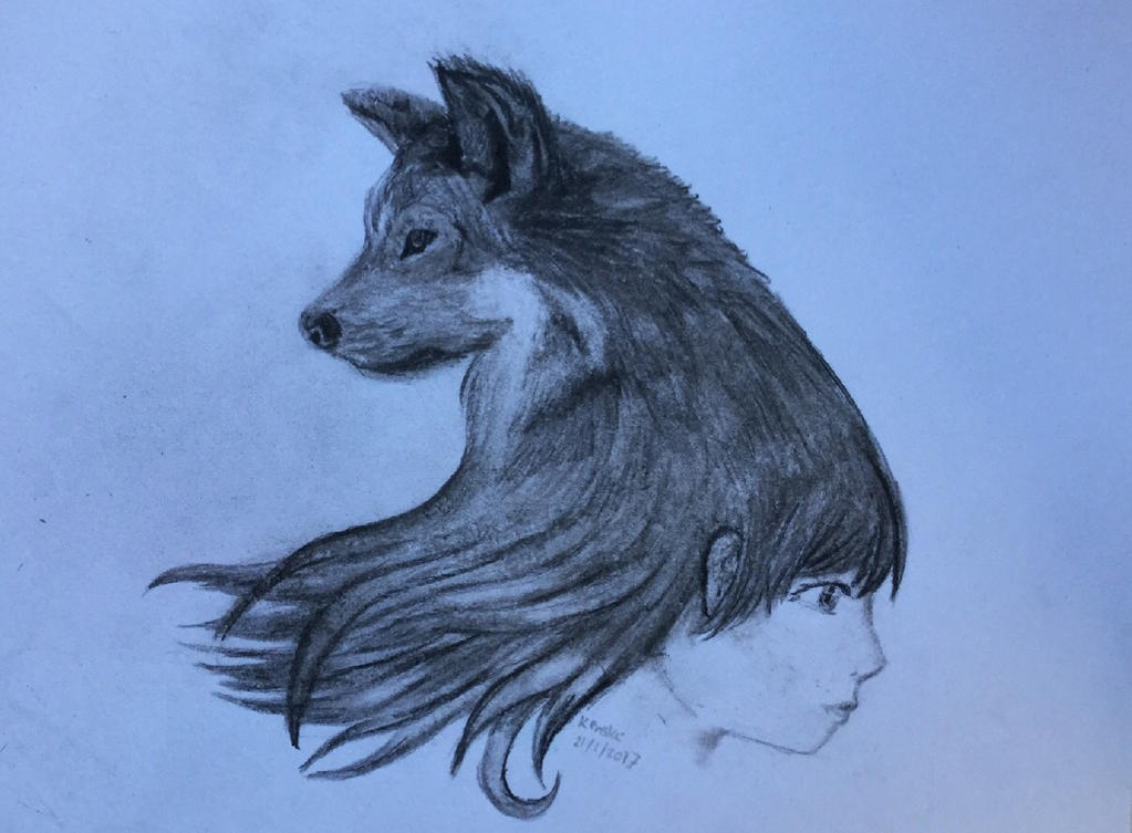 Wolfs Girl - Charcoal by VliegendeFiets