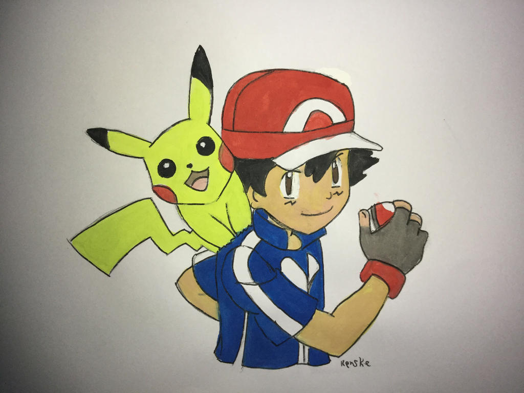 Ash and pikachu  by VliegendeFiets