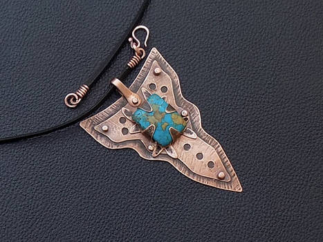 Riveted copper turquoise men sword necklace