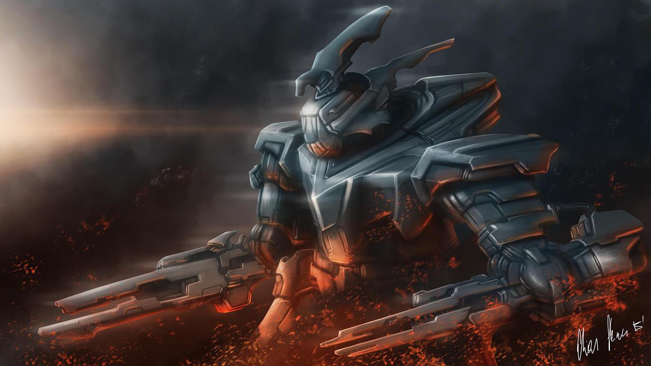 Speedpainting 004 Mech by LordDoomhammer