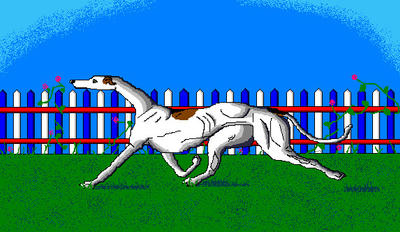 'Moving Greyhound' in MS Paint by Cecilia-Schmitt