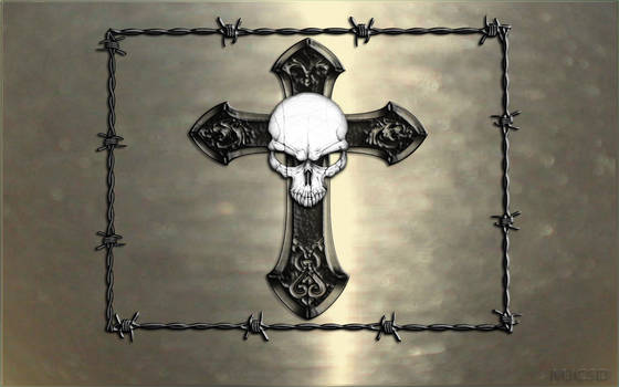 Skull and cross silver wall