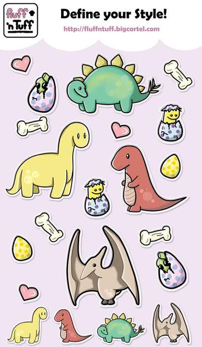 Dinosaur Sticker Sheet by Fluffntuff