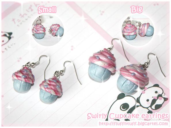 Swirly Cupcake Earrings by Fluffntuff on DeviantArt