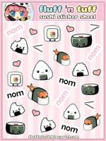 Sushi Sticker Sheet by Fluffntuff