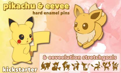 POKEMON Pikachu, Eevee and eeveelution Enamel Pin by Fluffntuff