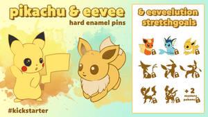 POKEMON Pikachu, Eevee and eeveelution Enamel pin