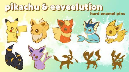 POKEMON Pikachu, Eevee and eeveelution Enamel pins