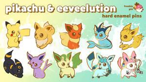 POKEMON Pikachu, Eevee and eeveelution enamel pins by Fluffntuff