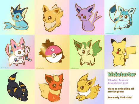 Kickstarter: Pikachu, Eevee and Eeveelution pins