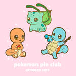 Pokemon Pin Club Launch - Kanto starters
