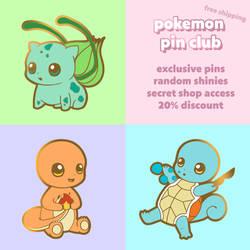 Pokemon Pin Club - Bulbasaur, Charmander, Squirtle