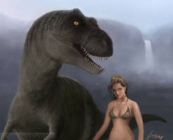 wip 4 t-rex and girlie by gavwoodhouse
