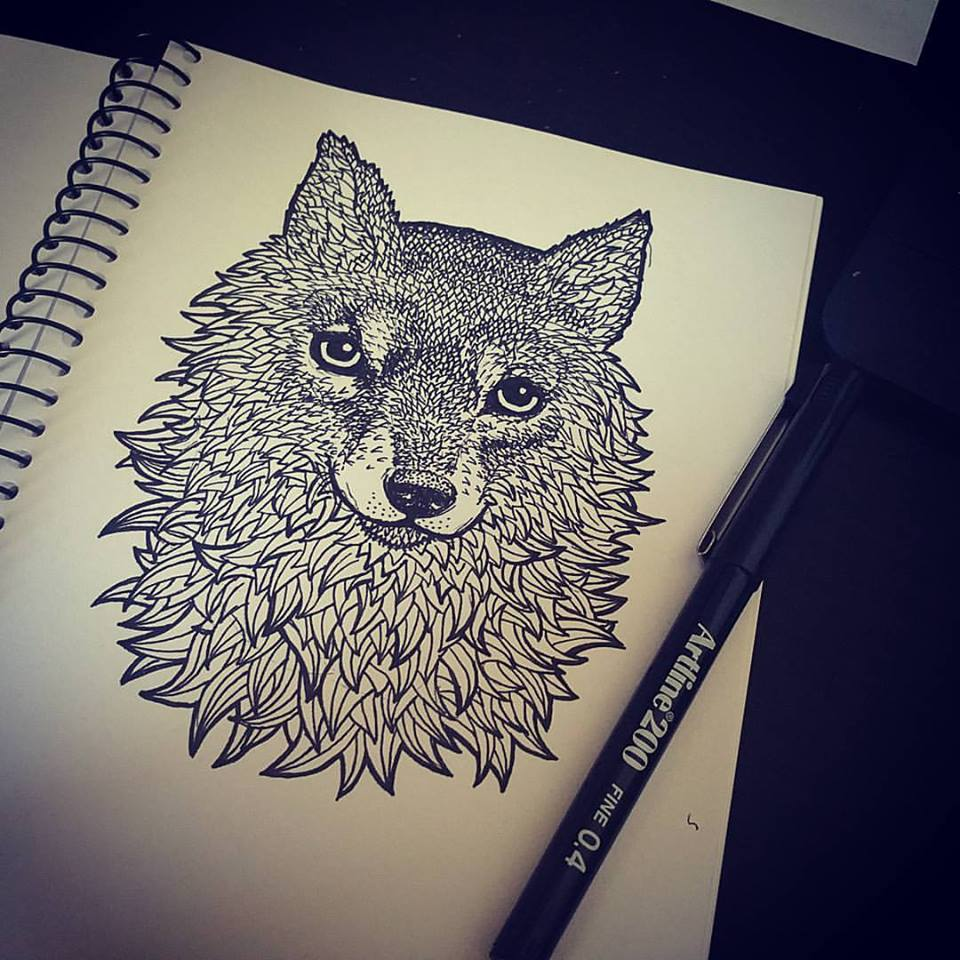 Fox Wolf Design Drawing by gavwoodhouse