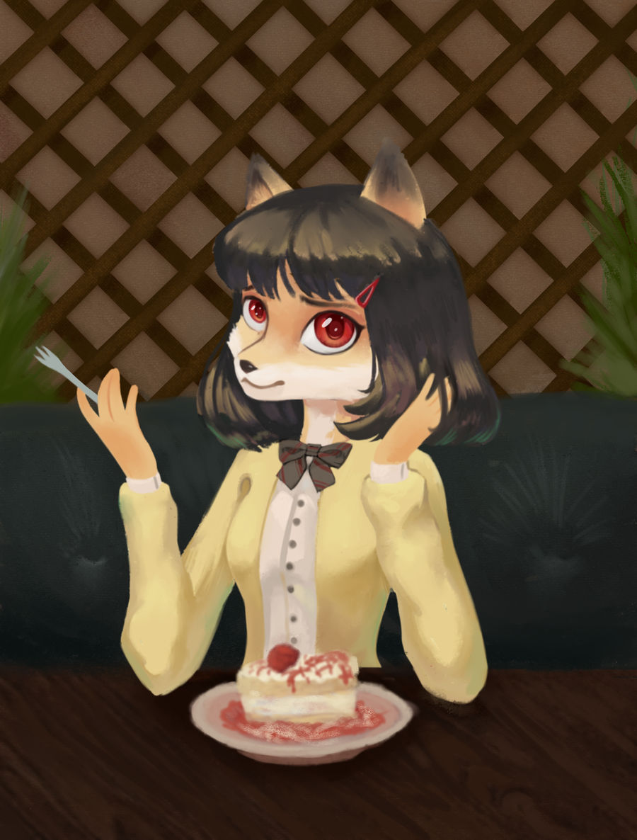 Fox with cake