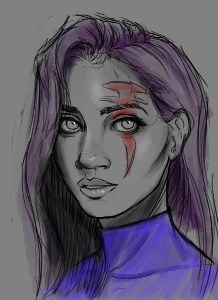 Psylocke sketch by hyrelynk