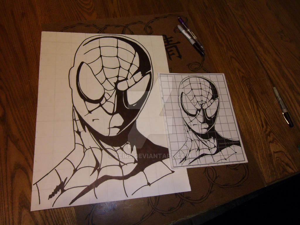 Spider man grid drawing 1 by zeirs