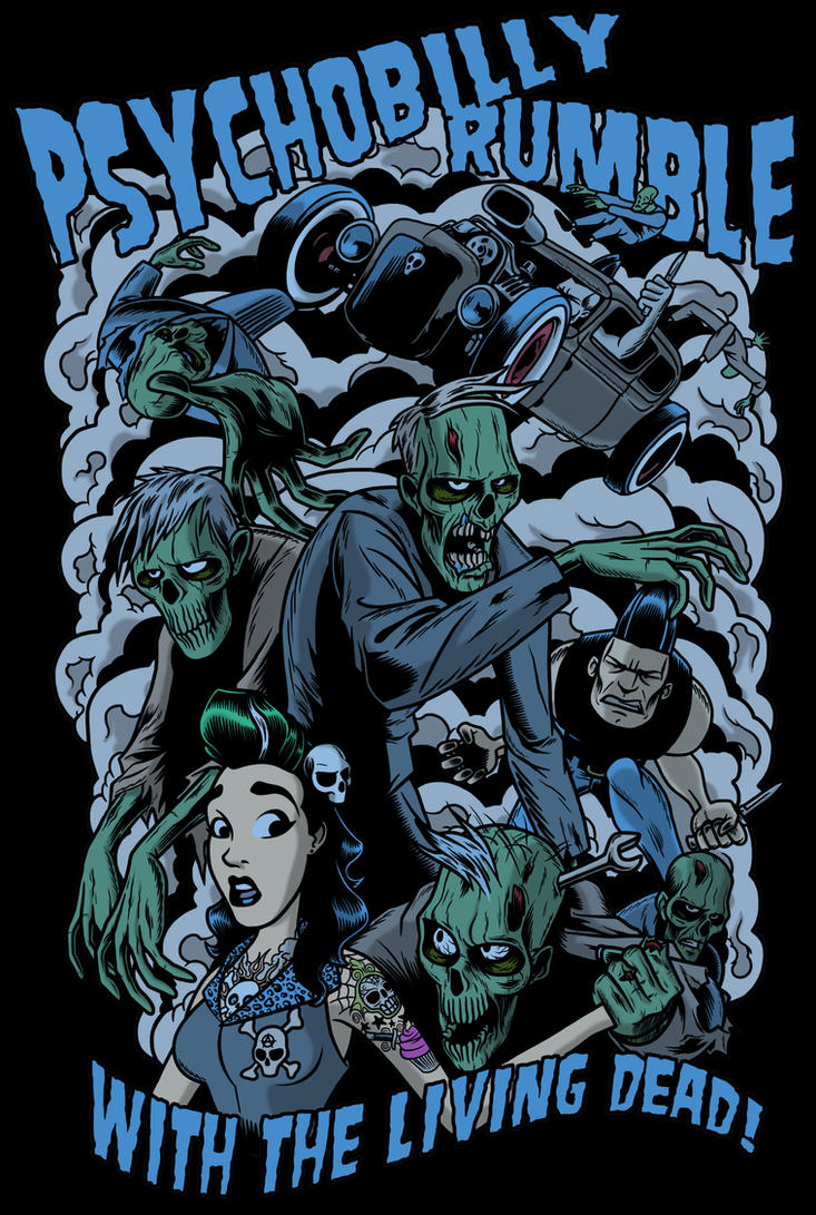 psychobilly rumble full color by zombieyou on deviantart