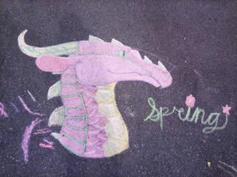 Spring Dragon Chalk Drawing by CraftySkyWolf1018