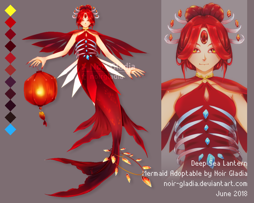 [ADOPT] Deep Sea Lantern Mermaid [Auction::OPEN] by Noir-Gladia