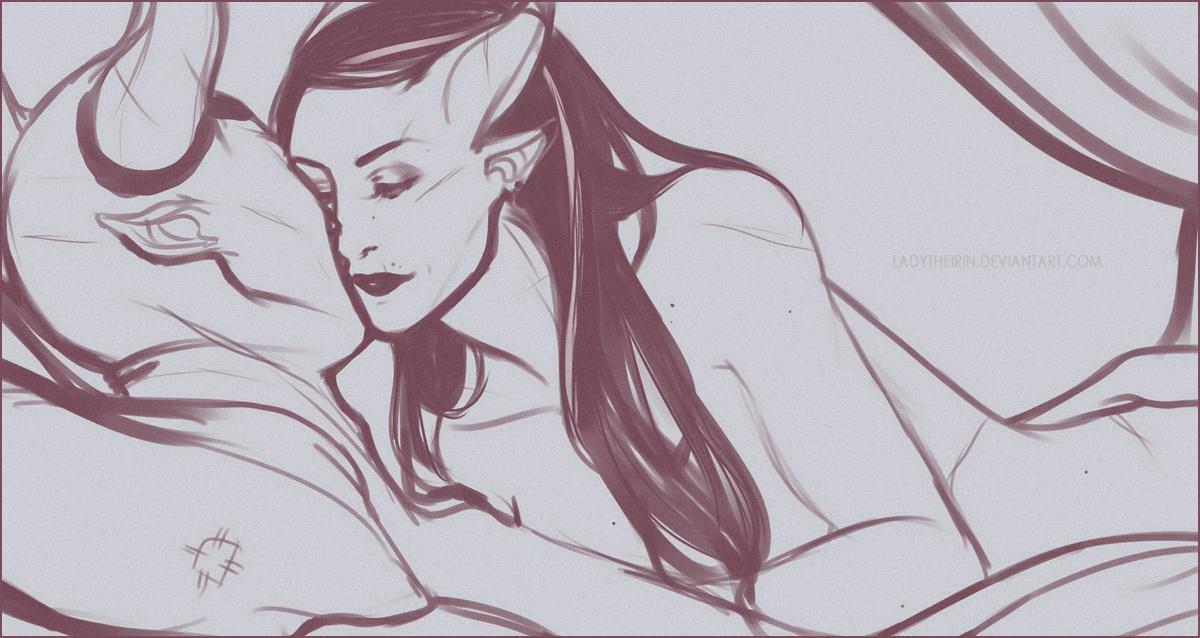 DAI: Staying Up {Iron Bull/Adaar} by LadyTheirin
