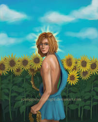 Apollon in a sunflower field. by younggodsofthenight