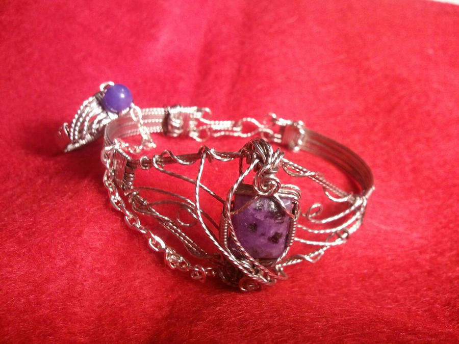 Purple Agate Slave Bracelet with Jade Ring by BESTGEM4U