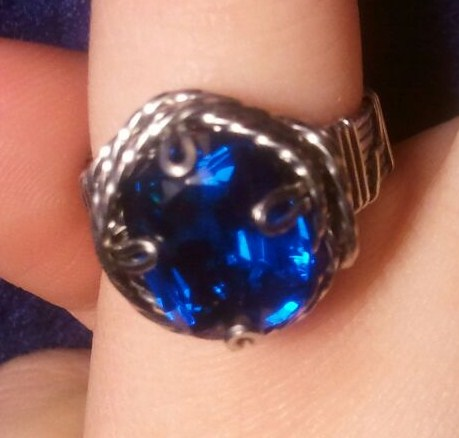 Hand-Made Blue Spinel Stainless Steel Wire Ring by BESTGEM4U