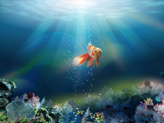 Gold fish by tanya-and-coffee