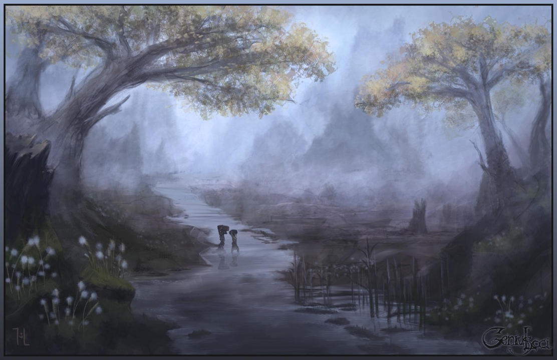 Forest river speedpainting by Ranarh