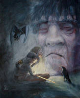 Young Odin listens to Mimir's head by Ranarh