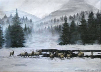 Elk at the Lake by Ranarh