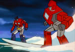Optimus Prime and Ironhide Surfing