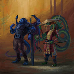 Dragonborn Characters by Phill-Art