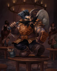 DnD Thamdur Cragarmour the Dwarven Bard by Phill-Art