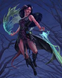Rolista the Tiefling Sorcerer by Phill-Art