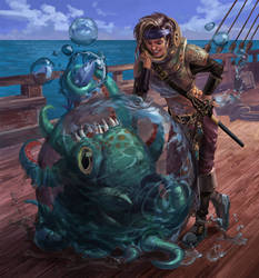 Pirate Sorceress and her pet kraken hatchling by Phill-Art