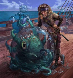 Pirate Sorceress and her pet kraken hatchling