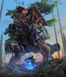 DnD Warforged and Halfling Warlock