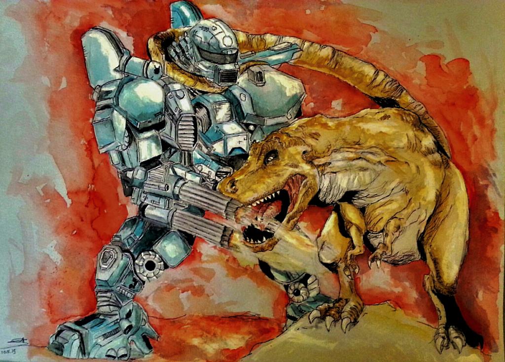 T Rex Vs Robot by Eden-ArtFromTheHeart
