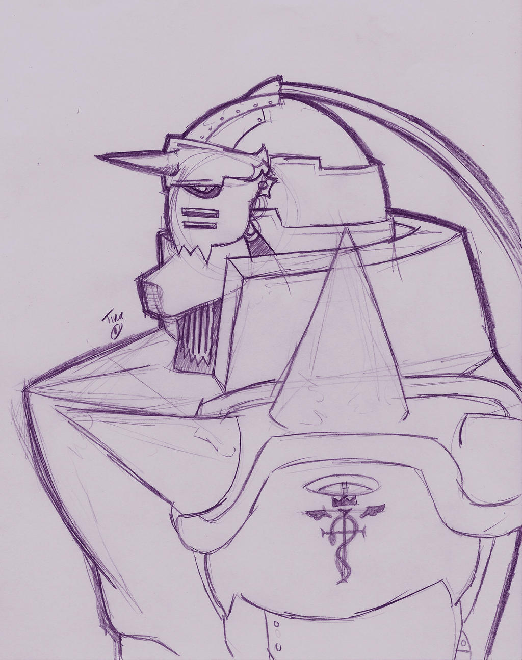 how to draw alphonse elric armor