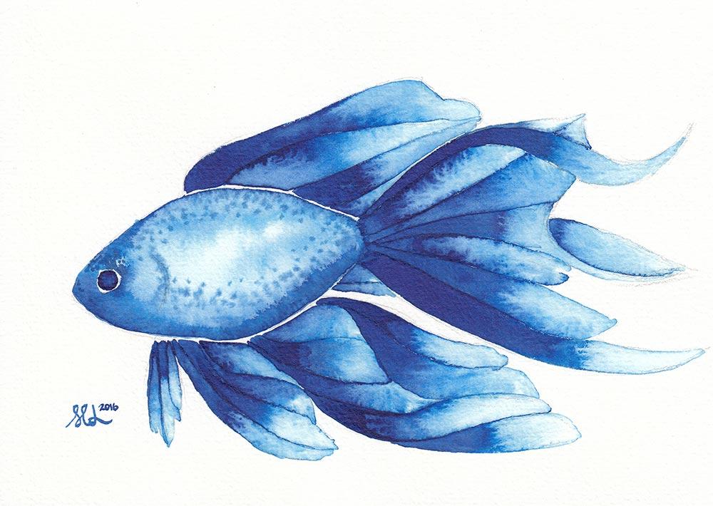 Blue fish by dragonslairnz