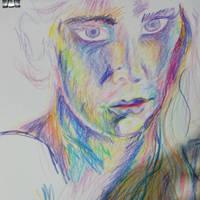 Sad Face Rough Layered Sketch