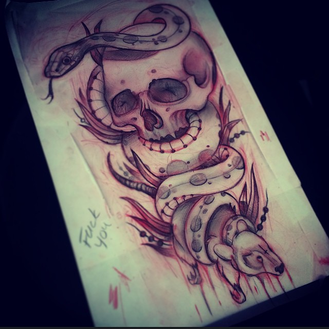snake and skull sketch for tattoo not done by