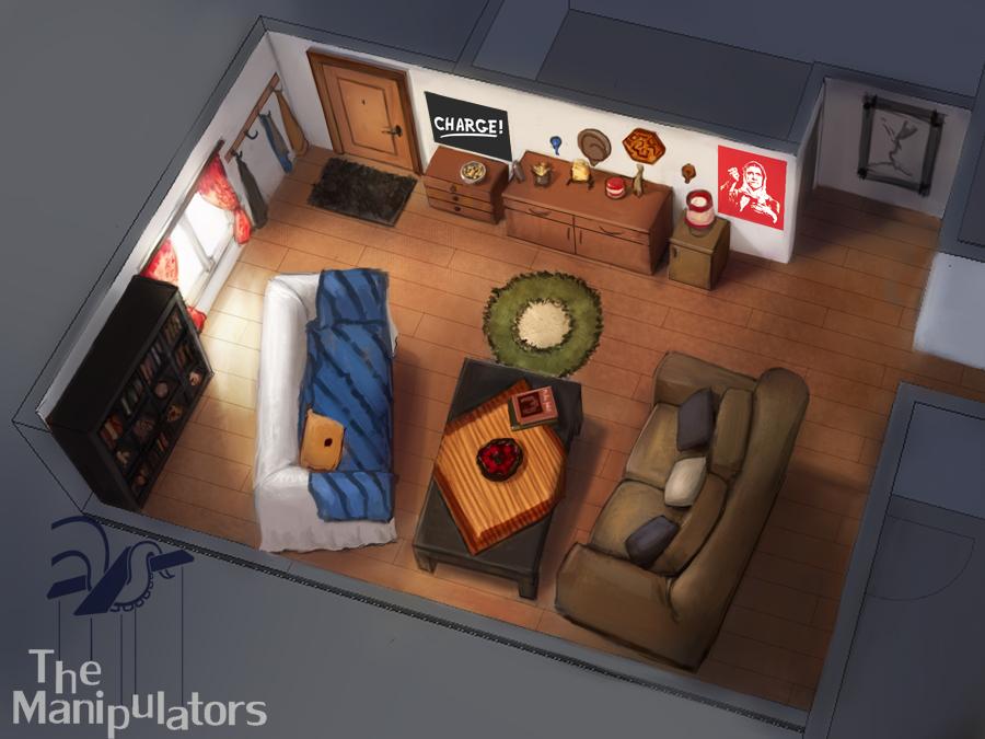 The Manipulators - Living room concept art by Vatsel