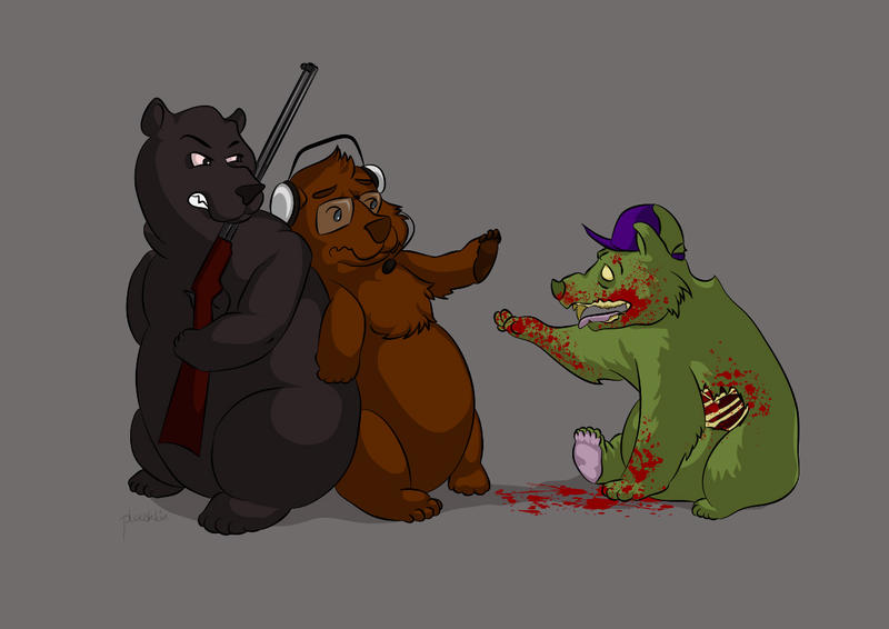 Commish: Three Angry Bears by plooshkin