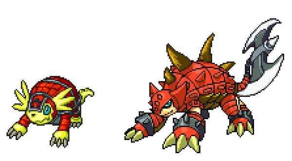 FireArmadillomon and Slashsaurmon by ParadoxalOrder